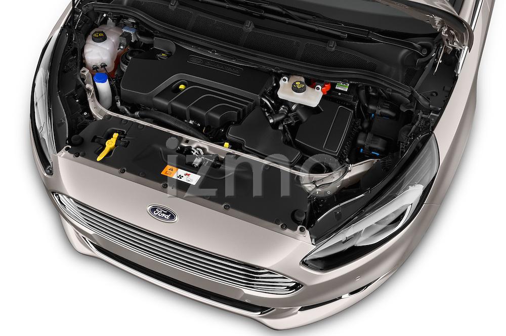 Car Stock 2016 Ford S-Max Titanium 5 Door Minivan Engine  high angle detail view