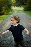 Baby boy walking, laughing