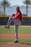 Cincinnati Reds relief pitcher Alexis Diaz (29) during a Minor League Spring Training game against the Chicago White Sox at the Cincinnati Reds Training Complex on March 28, 2018 in Goodyear, Arizona. (Zachary Lucy/Four Seam Images)