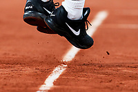 11th October 2020, Roland Garros, Paris, France; French Open tennis, mens singles final 2020; Rafael Nadal of Spain shoes as he serves during the mens singles final match against Novak Djokovic of Serbia at the French Open tennis tournament 2020 at Roland Garros