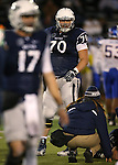 Nevada's Joel Bitonio (70) competes in an NCAA college football game against San Jose State, in Reno, Nev., on Saturday, Nov. 16, 2013. (AP Photo/Cathleen Allison)