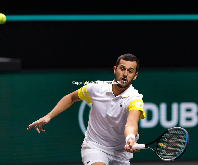 Rotterdam, The Netherlands, 2 march  2021, ABNAMRO World Tennis Tournament, Ahoy, First round doubles: Mate Pavic (CRO).<br /> Photo: www.tennisimages.com/henkkoster