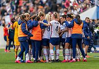 HARRISON, NJ - MARCH 08: The USWNT huddles during a game between Spain and USWNT at Red Bull Arena on March 08, 2020 in Harrison, New Jersey.