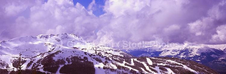 Whistler Mountain Ski Runs, Whistler Ski Resort, BC, British Columbia, Canada, Winter - Panoramic View