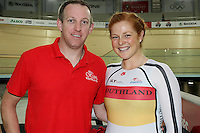 Southland's coach Stu MacDonald and Kirtie James at the BikeNZ Elite & U19 Track National Championships, Avantidrome, Home of Cycling, Cambridge, New Zealand, Sunday, March 16, 2014. Credit: Dianne Manson