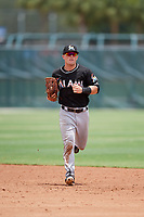GCL Marlins center fielder Cameron Baranek (11) jogs back to the dugout during the second game of a doubleheader against the GCL Nationals on July 23, 2017 at Roger Dean Stadium Complex in Jupiter, Florida.  GCL Nationals defeated the GCL Marlins 1-0.  (Mike Janes/Four Seam Images)