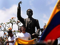 Venezuela: Caracas,18/02/14 <br /> Leopoldo Lopez speach in rally in support of himself in Plaza Brion in Chacaíto, Caracas. Lopez was then handed to the National Guard, because the government had issued an arrest warrant against him responsible for the violence of the protest 12F, where two students and a member of a pro-government paramilitary group died. <br /> Adolfo Acosta/Archivolatino