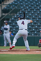 AZL Indians 2 designated hitter Yainer Diaz (4) at bat during an Arizona League game against the AZL Angels at Tempe Diablo Stadium on June 30, 2018 in Tempe, Arizona. The AZL Indians 2 defeated the AZL Angels by a score of 13-8. (Zachary Lucy/Four Seam Images)