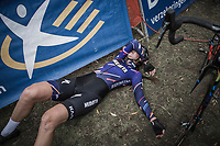exhausted Nikki Brammeier (GBR/Mudiiita Cycling) after finishing 7th place. <br /> <br /> <br /> women's race.<br /> Koppenbergcross Belgium 2018