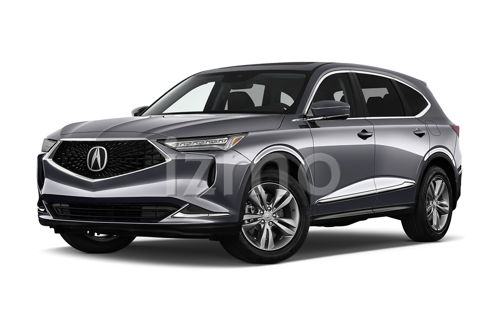 Stock pictures of low aggressive front three quarter view of 2022 Acura MDX - 5 Door SUV Low Aggressive