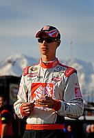 Feb 20, 2009; Fontana, CA, USA; NASCAR Sprint Cup Series driver Joey Logano during qualifying for the Auto Club 500 at Auto Club Speedway. Mandatory Credit: Mark J. Rebilas-