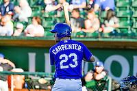 Brock Carpenter (23) of the Ogden Raptors at bat against the Missoula Osprey in Pioneer League action at Lindquist Field on July 14, 2016 in Ogden, Utah. Ogden defeated Missoula 10-4. (Stephen Smith/Four Seam Images)