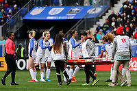 Harrison, NJ - Sunday March 04, 2018: Casey Short, stretcher crew during a 2018 SheBelieves Cup match match between the women's national teams of the United States (USA) and France (FRA) at Red Bull Arena.