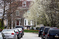 FBI evidence teams investigate the scene on Franklin Street in Watertown, Mass., near the scene of the capture of Boston Marathon Bombing suspect #2 Dzhokhar Tsarnaev, on April 20, 2013.  Tsarnaev was captured the day before just a block away in a residential area of Watertown after a day-long search that shut down the metropolitan Boston area.