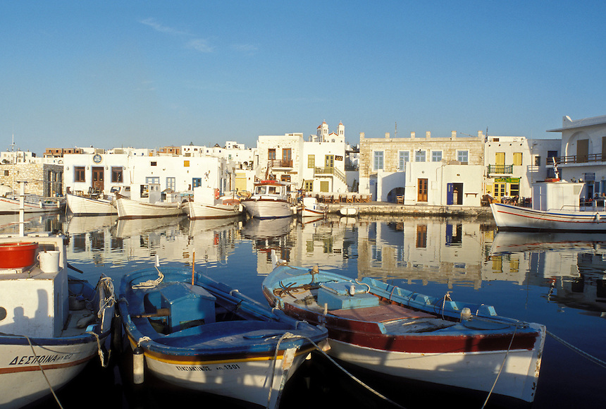 fishing boats, Greece, Paros, Naoussa, Greek Islands, Cyclades, Europe, Fishing boats docked in Naoussa Harbor on Paros Island on the Aegean Sea.