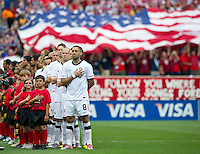 USA's Clint Dempsey and the USA team before the start of an international friendly tune up match with Tureky for the 2010 World Cup, at Lincoln Financial Field, in Philadelphia, PA, Saturday, May 29, 2010. USA defeated Turkey 2-1.