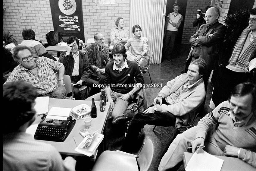 Rotterdam, The Netherlands, 15 March 1981, ABN WCT World Tennis Tournament, Ahoy,  Pressconference with Eric Wilborts (NED) (M)<br /> Photo: www.tennisimages.com/Henk Koster