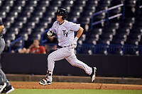 Tampa Yankees left fielder Trey Amburgey (17) running the bases during a game against the Fort Myers Miracle on April 12, 2017 at George M. Steinbrenner Field in Tampa, Florida.  Tampa defeated Fort Myers 3-2.  (Mike Janes/Four Seam Images)