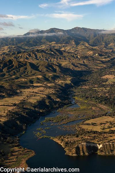 aerial photograph of Lake Cachuma, Santa Ynez Valley, Santa Barbara County, California