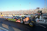 Sep 13, 2013; Charlotte, NC, USA; NHRA top fuel dragster driver Terry McMillen during qualifying for the Carolina Nationals at zMax Dragway. Mandatory Credit: Mark J. Rebilas-