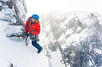 Nick Bullock scratches his way up Hanging Garden, VII 8, No. 3 Gully Buttress, Ben Nevis, Scotland