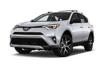 Stock pictures of low aggressive front three quarter view of 2018 Toyota RAV4 SE 5 Door SUV Low Aggressive