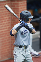Carter Trice (4) of the Old Dominion Monarchs waits for his turn to hit during the game against the Charlotte 49ers at Hayes Stadium on April 23, 2021 in Charlotte, North Carolina. (Brian Westerholt/Four Seam Images)