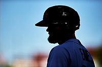 Mesa Solar Sox designated hitter Kody Eaves (28), of the Detroit Tigers organization, on deck during an Arizona Fall League game against the Peoria Javelinas on October 25, 2017 at Sloan Park in Mesa, Arizona. The Solar Sox defeated the Javelinas 6-3. (Zachary Lucy/Four Seam Images)