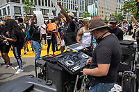 DJ Chris Legend plays music during a march against police brutality and racism in Washington, D.C. on Saturday, June 6, 2020.<br /> Credit: Amanda Andrade-Rhoades / CNP/AdMedia