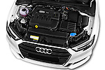 Car Stock 2017 Audi A3 Sport 3 Door Hatchback Engine  high angle detail view