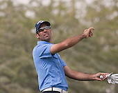Alvaro Quiros tests the wind and plays to the 8th green  during the opening round of the  2012 Commercial Bank Qatar Masters being played over the Championship Course at Doha Golf Club, Doha, Qatar from 2nd to 5th February 2012. Picture Stuart Adams www.golftourimages.com: 2nd February 2012