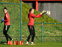 20200911 - TUBIZE , Belgium : Goalkeeper Lisa Lichtfus catches a ball during the training session of the Belgian Women's National Team, Red Flames ahead of the Women's Euro Qualifier match against Switzerland, on the 28th of November 2020 at Proximus Basecamp. PHOTO: SEVIL OKTEM   SPORTPIX.BE
