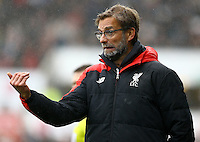 Liverpool manager Jurgen Klopp gestures on the touchline during the Barclays Premier League match between Swansea City and Liverpool played at the Liberty Stadium, Swansea on 1st May 2016