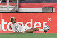 FOXBOROUGH, MA - SEPTEMBER 1: Maxi Schenfeld #19 of FC Tucson keeps the ball in play during a game between FC Tucson and New England Revolution II at Gillette Stadium on September 1, 2021 in Foxborough, Massachusetts.