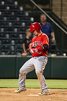 AZL Angels catcher Connor Fitzsimons (6) hits a home run during a game against the AZL Giants on July 9, 2017 at Diablo Stadium in Tempe, Arizona. AZL Giants defeated the AZL Angels 8-4. (Zachary Lucy/Four Seam Images)
