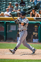 Brock Bond (19) of the Albuquerque Isotopes at bat against the Salt Lake Bees in Pacific Coast League action at Smith's Ballpark on June 28, 2015 in Salt Lake City, Utah.The Isotopes defeated the Bees 8-3. (Stephen Smith/Four Seam Images)