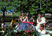 former Hawaii Governor George Ariyoshi and his wife Jean in the Aloha Festivals Parade, held annually in September
