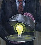 Illustrative image of man serving glowing light bulb in platter representing new ideas