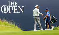 150719 | The 148th Open - Monday Practice<br /> <br /> Tiger Woods of USA putts on the 18th green during practice for the 148th Open Championship at Royal Portrush Golf Club, County Antrim, Northern Ireland. Photo by John Dickson - DICKSONDIGITAL