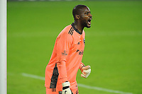 WASHINGTON, DC - OCTOBER 28: Bill Hamid #24 of D.C. United during a game between Columbus Crew and D.C. United at Audi Field on October 28, 2020 in Washington, DC.