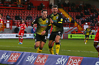 Josh Kay (L) of Barrow AFC scores the first goal for his team form a rebound after his penalty and celebrates during Crawley Town vs Barrow, Sky Bet EFL League 2 Football at Broadfield Stadium on 12th December 2020