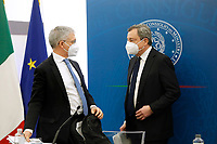 The Italian premier Mario Draghi and the Minister of Economy Daniele Franco during the press conference at the end of the Minister's cabinet.<br /> Rome (Italy), March 19th 2021<br /> Photo Samantha Zucchi Insidefoto