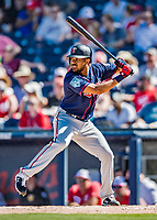 2 March 2019: Minnesota Twins outfielder LaMonte Wade at bat during a Spring Training game against the Washington Nationals at the Ballpark of the Palm Beaches in West Palm Beach, Florida. The Twins fell to the Nationals 10-6 in Grapefruit League play. Mandatory Credit: Ed Wolfstein Photo *** RAW (NEF) Image File Available ***