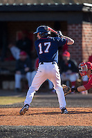 Nathan Marks (17) of the Shippensburg Raiders at bat against the Belmont Abbey Crusaders at Abbey Yard on February 8, 2015 in Belmont, North Carolina.  The Raiders defeated the Crusaders 14-0.  (Brian Westerholt/Four Seam Images)
