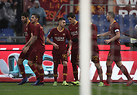 Football, Serie A: AS Roma - Torino, Olympic stadium, Rome, January 19, 2019. <br /> Roma's Stephan El Shaarawy (c) celebrates after scoring with his teammates  during the Italian Serie A football match between AS Roma and Torino at Olympic stadium in Rome, on January 19, 2019.<br /> UPDATE IMAGES PRESS/Isabella Bonotto