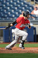 Frisco Rough Riders outfielder Jake Skole (5) at bat during the first game of a doubleheader against the Tulsa Drillers on May 29, 2014 at ONEOK Field in Tulsa, Oklahoma.  Frisco defeated Tulsa 13-4.  (Mike Janes/Four Seam Images)