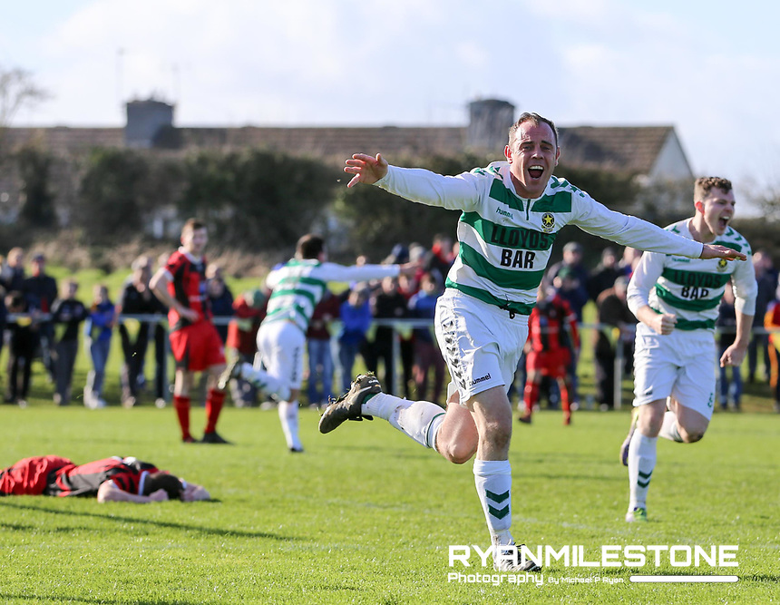 FAI Junior Cup Quarter Final.<br /> Peake Villa v Sheriff YC<br /> Tower Grounds,<br /> Thurles, Co Tipperary<br /> Sunday 12th March 2017<br /> John Rock (Sheriff YC) scores the winning goal.<br /> Photo Credit: Michael P Ryan