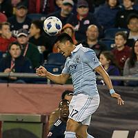 Foxborough, Massachusetts - April 28, 2018: In a Major League Soccer (MLS) match, New England Revolution (blue/white) defeated Sporting Kansas City (light blue/white), 1-0, at Gillette Stadium.