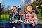 Little Fiadh McEgan and  Lauren Connaire enjoying the Tralee Town park playground on Tuesday .
