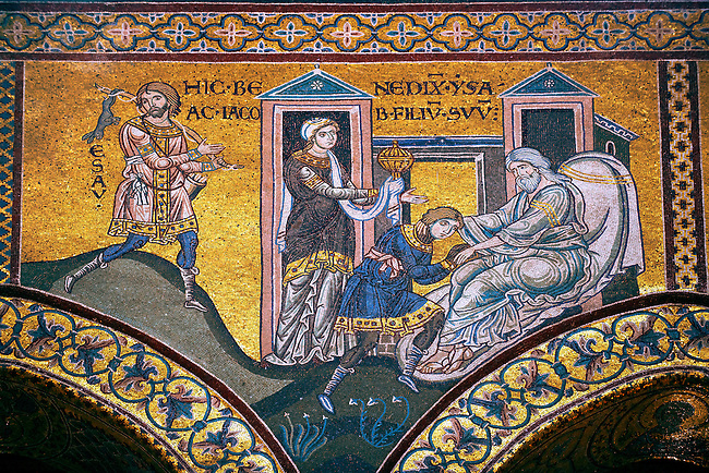 Byzantine mosaics in the Cathedral of Monreale- Jacob steals the blessing of his father intended for Esau- Palermo - Sicily Pictures, photos, images & fotos photography